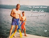 Cam and Dad about to cross the lake - Summer 1993